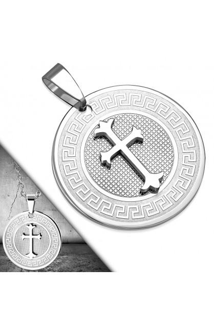 AVP370 ST Greek Key Fleur De Lis Cross Circle Charm Pendant