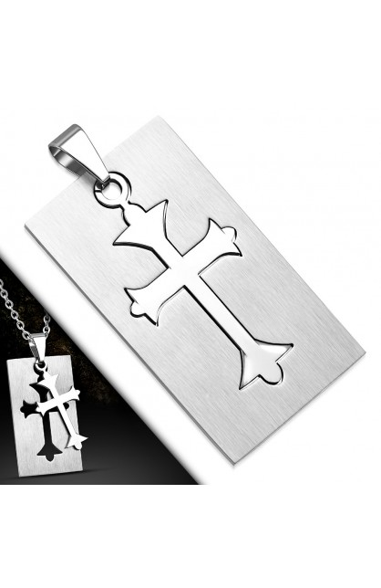 AVP449 ST Cut-out Fleur De Lis Cross Tag Charm Pendant