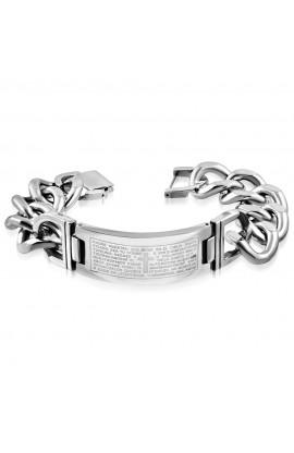 BHB606 ST Lords Prayer In Spanish Cross Watch-Style Bracelet