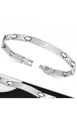 BLS214 ST Lords Prayer In Spanish Cross Watch-Style Bracelet