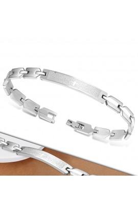 BLS212 ST Lords Prayer In Spanish Cross Watch-Style Bracelet