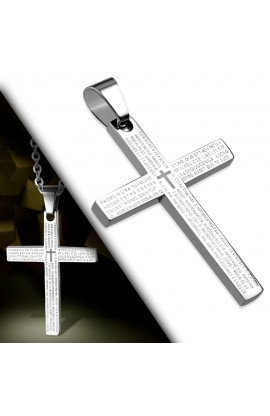 PCR361 ST The Lords Prayer In Spanish Cross Pendant