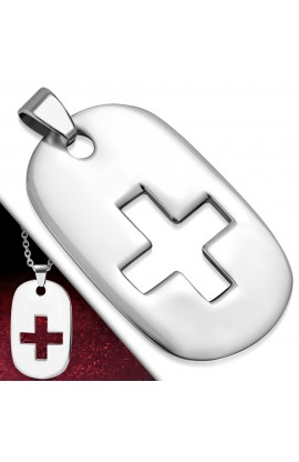 ST Cross Tag Charm Pendant