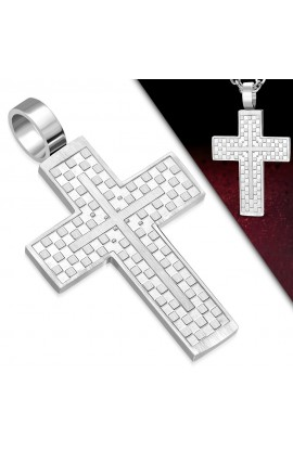 AVP228 ST Checker Grid Cross Charm Pendant