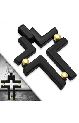 Black ST Screw Geometric Cross Charm Pendant