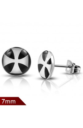 LEB011 ST Acrylic Cross Round Circle Stud Earrings