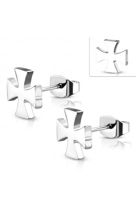 ZEM095 ST Engravable Pattee Cross Stud Earrings