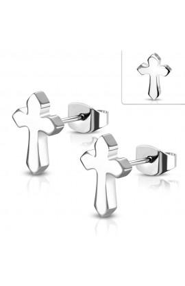 ZEM097 ST Medieval Cross Stud Earrings