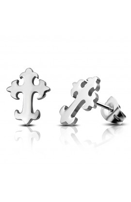 ST Fleur De Lis Cross Stud Earrings