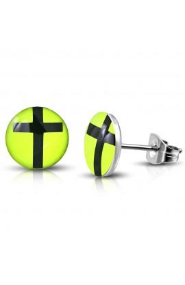 LEB428 ST Acrylic Cross Lemon Green Round Circle Stud Earrings