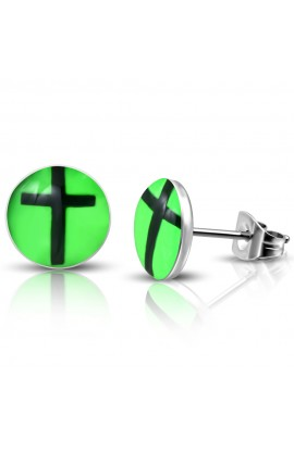 ST Acrylic Cross Green Round Circle Stud Earrings