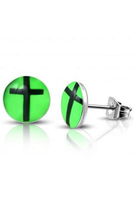 LEB429 ST Acrylic Cross Green Round Circle Stud Earrings