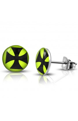 ST Acrylic Cross Lemon Green Round Circle Stud Earrings