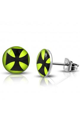 LEB434 ST Acrylic Cross Lemon Green Round Circle Stud Earrings