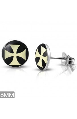 ST Acrylic Cross Round Circle Stud Earrings
