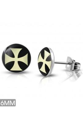 LEB510 ST Acrylic Cross Round Circle Stud Earrings