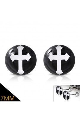 ST Acrylic Arrow Cross Round Circle Stud Earrings