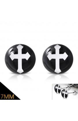 LEB580 ST Acrylic Arrow Cross Round Circle Stud Earrings