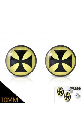 ST Acrylic Pattee Cross Round Circle Stud Earrings