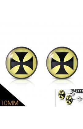 TTE270 ST Acrylic Pattee Cross Round Circle Stud Earrings