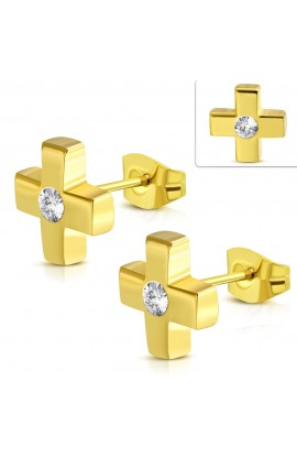 Gold Plated ST Cross Stud Earrings Clear CZ