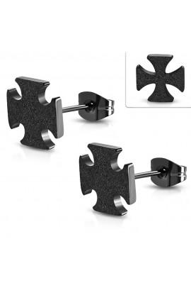 JES691 Black ST Sandblasted Pattee Cross Stud Earrings