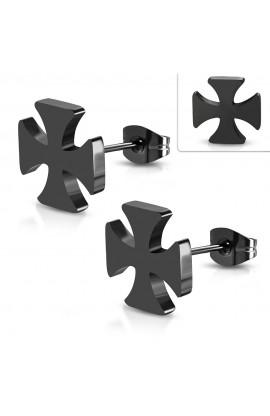 JES696 Black ST Pattee Cross Stud Earrings