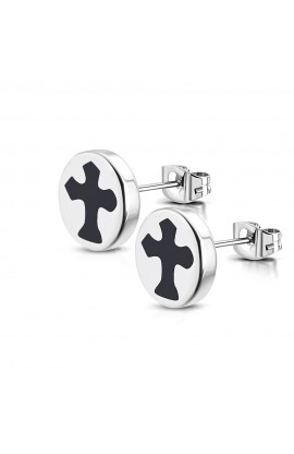 ST Cross Round Circle Stud Earrings
