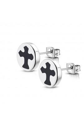 TTE579 ST Cross Round Circle Stud Earrings