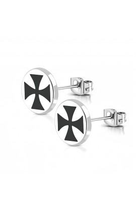 ST Pattee Cross Round Circle Stud Earrings
