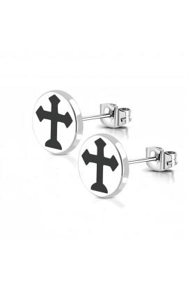 TTE949 ST Arrow Cross Round Circle Stud Earrings