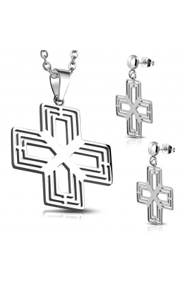 ST Cross Charm Pendant & Pair of Long Drop Stud Earrings