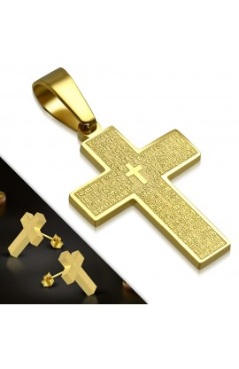 SSO148 SET Gold Plated ST Lords Prayer In Spanish Cross Pendant & Stud Earrings
