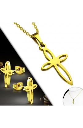 Gold Plated ST Flower Cross Charm Chain Necklace & Stud Earrings