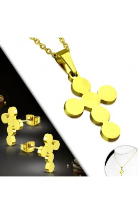 SSO275 Gold Plated ST Flower Cross Charm Chain Necklace & Stud Earrings