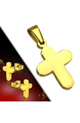 Gold Plated ST Cross Charm Pendant & Stud Earrings