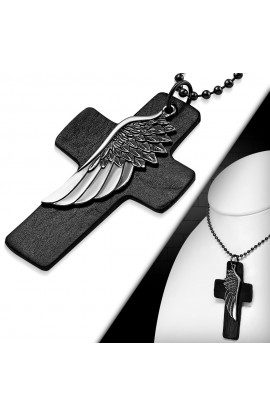 CTH331 Eagle Wing Leather Black Cross Charm Military Ball Link Chain Necklace