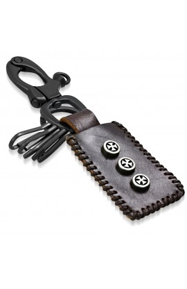 KNL179 Cross Circle Stud Tag Ring Valet Brown Leather Biker Key Chain