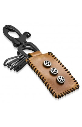 KNL180 Cross Circle Stud Tag Ring Valet Leather Biker Key Chain