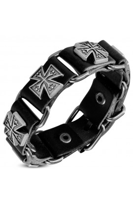 BHY573 Genuine Black Leather Star Pattee Cross Stud Belt Buckle Bracelet