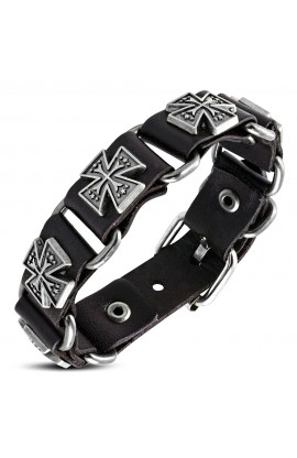 BHY657 Genuine Dark Brown Leather Star Cross Stud Belt Buckle Bracelet