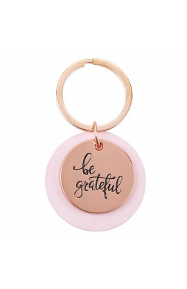 Keyring Pink Be Grateful