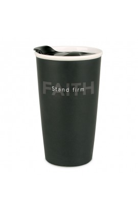 Tumbler Mug Double Wall Ceramic Blk Simple Truth Stand Firm