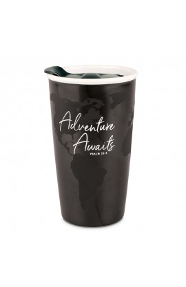 Tumbler Mug Double Wall Ceramic Adventure Awaits Black