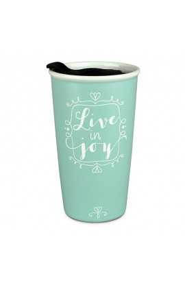 Tumbler Mug Double Wall Ceramic Affirmed Live In Joy