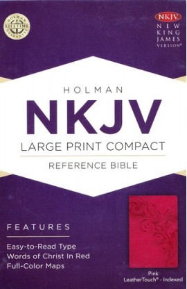 NKJV Large Print Compact Reference Bible Pink LeatherTouch Indexed