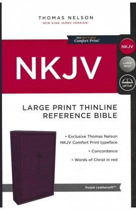 NKJV Thinline Reference Bible Large Print Leathersoft Purple