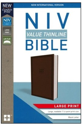 NIV Value Thinline Bible Large Print Chocolate Leather
