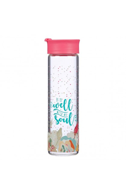 Water Bottle Glass Coral Well With My Soul