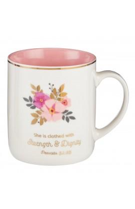 Mug Strength & Dignity Floral